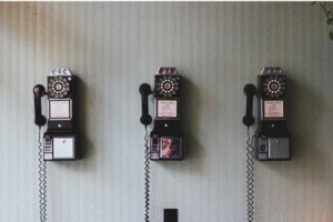 three old style phones - dialing the old way
